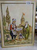A framed Turkish family scene.