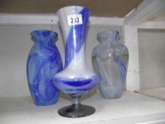 3 blue coloured glass vases
