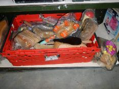A box of vintage scrubbing brushes etc.