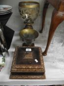 2 gilded base vases and a lidded box