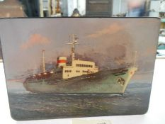 A superb quality Russian lacquered box depicting a ship, signed.