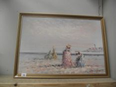 An oil on canvas vintage beach scene signed Marie Charlotte