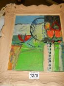 """A 20th century abstract acrylic on board """"Boat Shapes"""" signed mount verso Pickering Castle."""