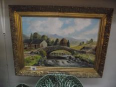 An oil on board of bridge and countryside