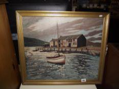 An oil on board entitled Evening Lyme Regis signed D J Reynolds 1957