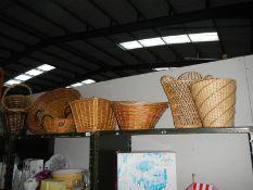 A quantity of wicker baskets.