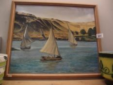 A European school oil on canvas painting of boats in an estuary with Belvoir gallery label verso