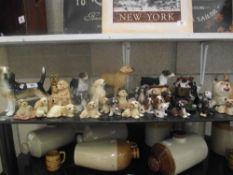 A shelf full of dog ornaments