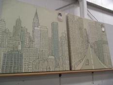 Midtown and downtown on canvas by Uryana Hammond