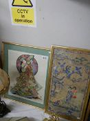 2 framed and glazed Chinese embroideries.