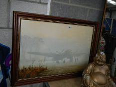 A large framed and glazed aeronautical print.