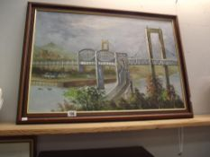 An oil on canvas painting of The Royal Albert railway and Tamar Road bridges signed C.