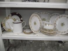 A Royal Crown Derby 'Grosvenor' part dinner set (18 pieces) 2 green Derby Panel side plates & a