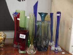 11 items of Art Glass vases including studio glass