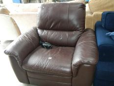 A brown electric reclining chair.
