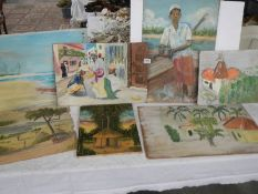 A quantity of primitive paintings, one on canvas and seven on board.