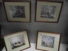 4 prints of Victorian coloured engravings