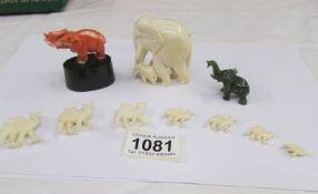 3 miniature elephants and a set of seven graduated camels.