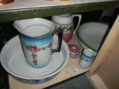 A Victorian jug and basin set.