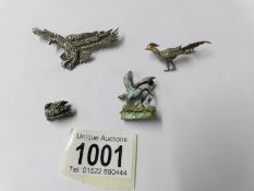 4 silver bird brooches circa 1940/50's being eagle, enamelled and stone set pheasant,