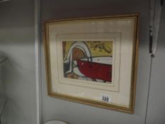 An Acrylic on paper abstract titled 'reclining nude with bird' (Framed and glazed)