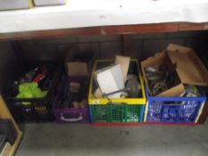 5 boxes of misc. including tools, lamp fittings, chess board etc.