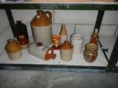 A mixed lot of stoneware items.