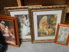 4 framed pictures.