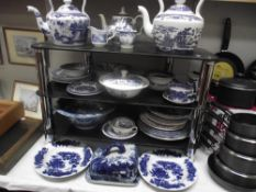 A large quantity of blue and white china