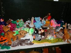 A large quantity of TY Beanie babies and bears.