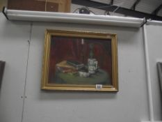 A framed oil on board still life titled 'Awaiting' Mid 20th century, by J.