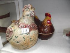 A large pottery novelty chicken figure & chicken egg dish/holder