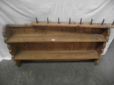 Pine wall mounting kitchen shelves and a pine coat rack