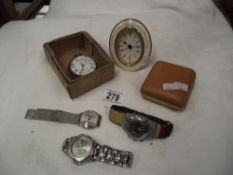 A pocket watch A/F also a travel clock & wristwatches etc.