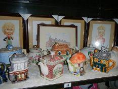 A mixed lot of decorative teapots.