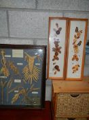 A framed wheat collage and 2 other framed items.