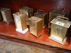 A quantity of carriage clocks.