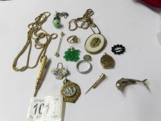 A mixed lot of old jewellery including a snake bracelet with stone set head (some wear to bracelet),