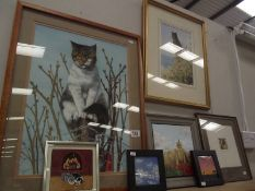 7 assorted pictures including oils and watercolours featuring cats, castle with poppies,