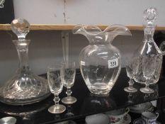 2 cut glass decanters etc.