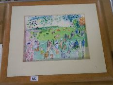 A framed and glazed print 'Ascot 1935' by Raoal Dufy.