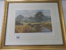 A limited edition print, 500/500, signed, Southern England landscape,