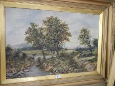 A pair of large oil on canvas rural scenes.
