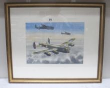 John Pooler Watercolour painting of a Lancaster bombing mission signed by the artist.