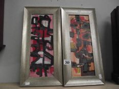 A pair of British school 20th century Abstract acrylics on board 'The Music Suite'.