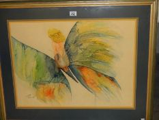 """A framed and glazed watercolour """"Flight of Fancy"""" by Fiona Elwick,"""