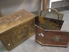 A Victorian brass fire front together with a later log box and magazine rack.