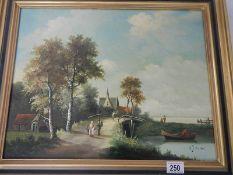A good gilt framed oil painting on board by H J Korston,