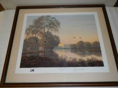 """""""Summer Reflections"""" A framed and glazed signed print by Gerald Coulson."""