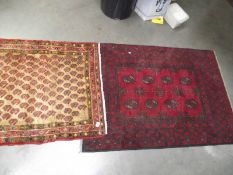 2 old wood rugs approximately 145 x 99 cm and 90 x 115 cm.